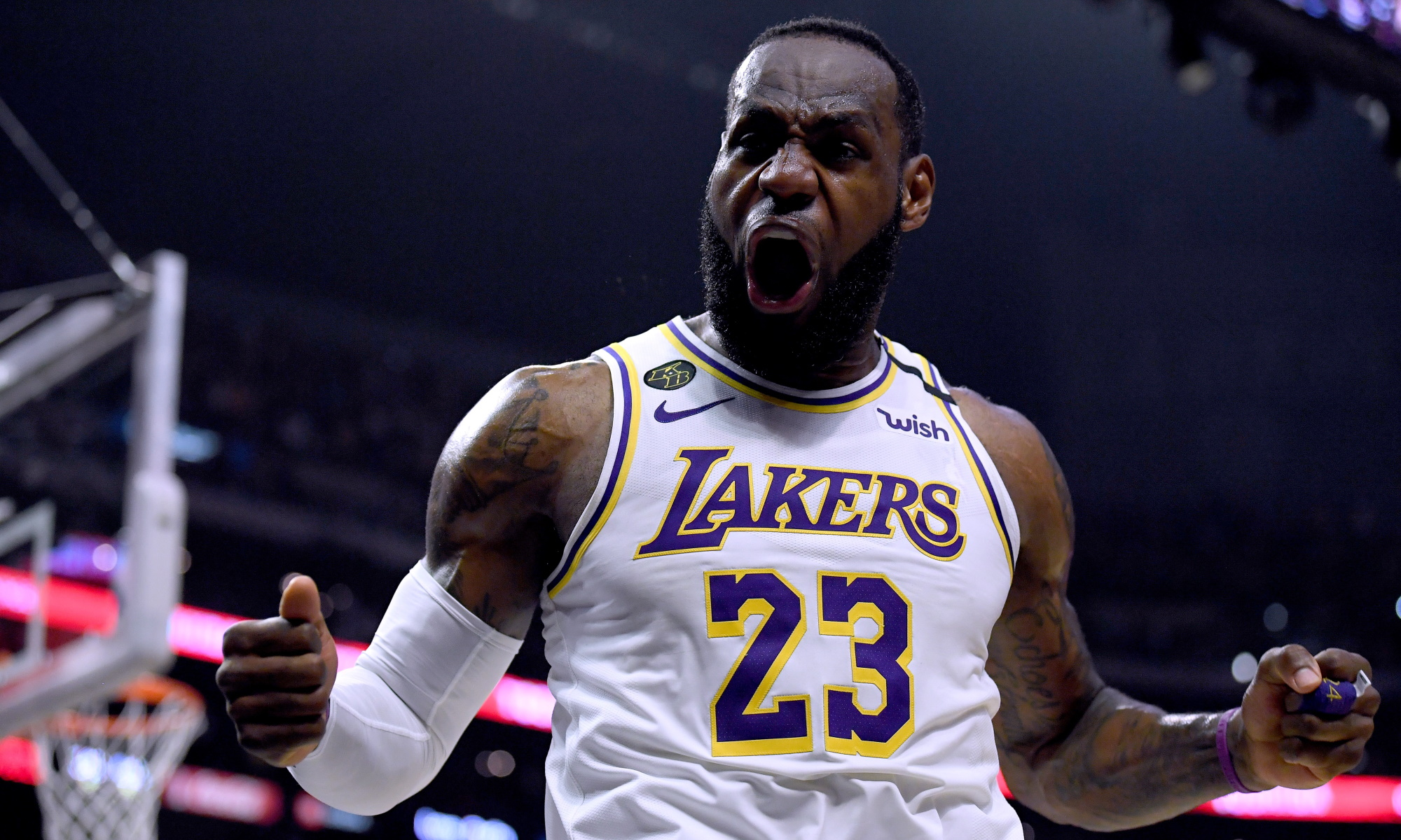 LeBron James, Los Angeles Lakers vs LA Clippers at STAPLES Center
