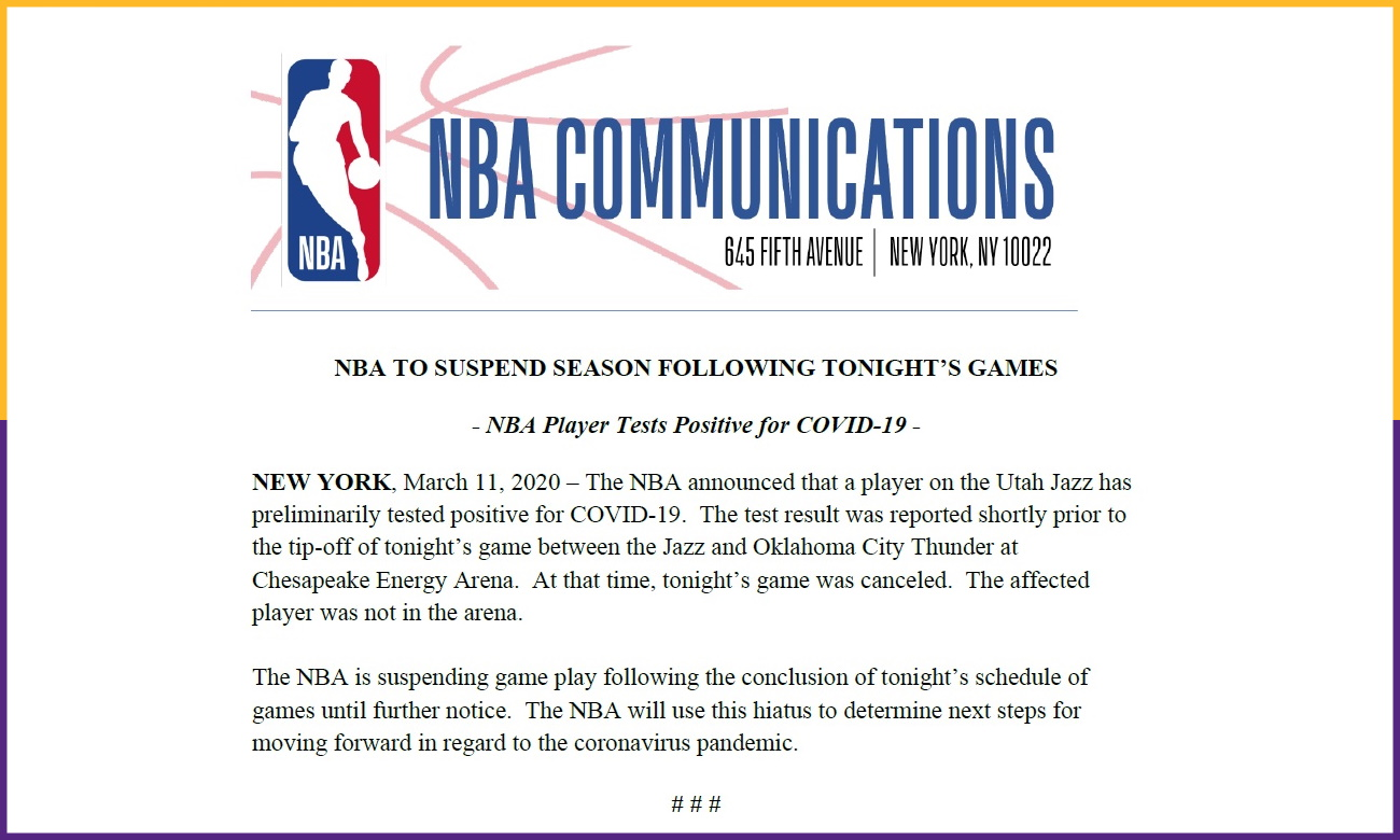 NBA to suspends season