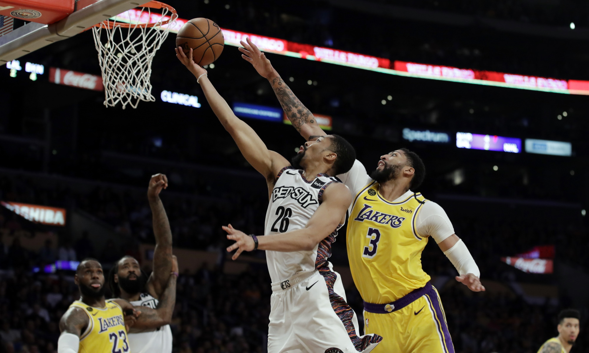Spencer Dinwiddie and Anthony Davis, Los Angeles Lakers vs Brooklyn Nets at STAPLES Center