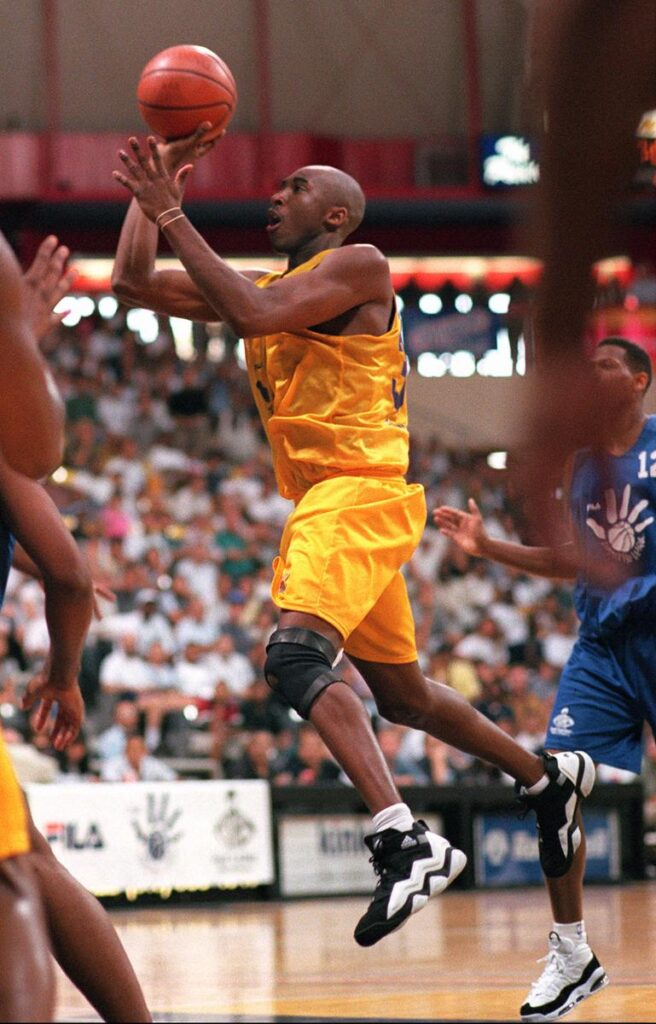 Kobe Bryant during a Pro Summer League game against the Detroit Pistons at Long Beach State Pyramid on July 13, 1996