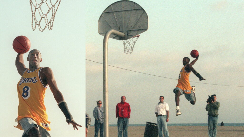 Feature shots of Kobe Bryant while he is taking part in an ad shoot for Adidas at Will Rogers State Beach, on September 26, 1996