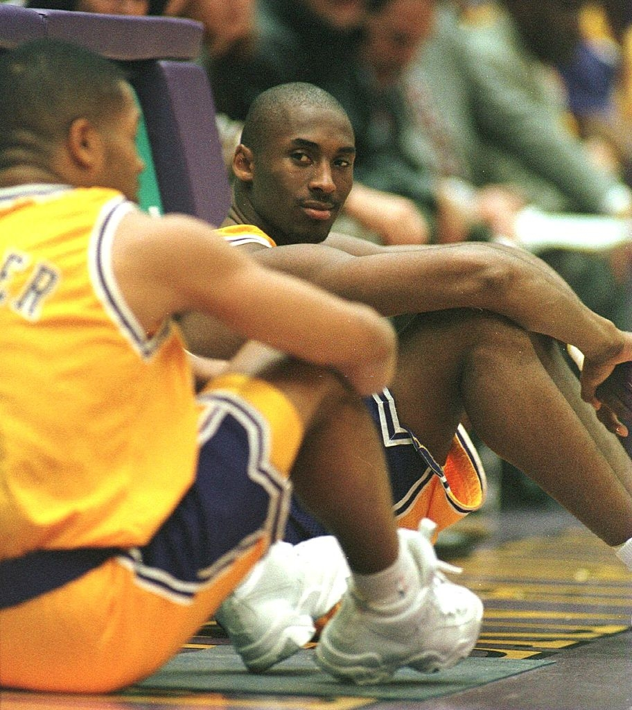 Kobe Bryant waits to enter the game for his first professional minutes. Los Angeles Lakers vs Minnesota Timberwolves at The Forum in Inglewood on November 3, 1996