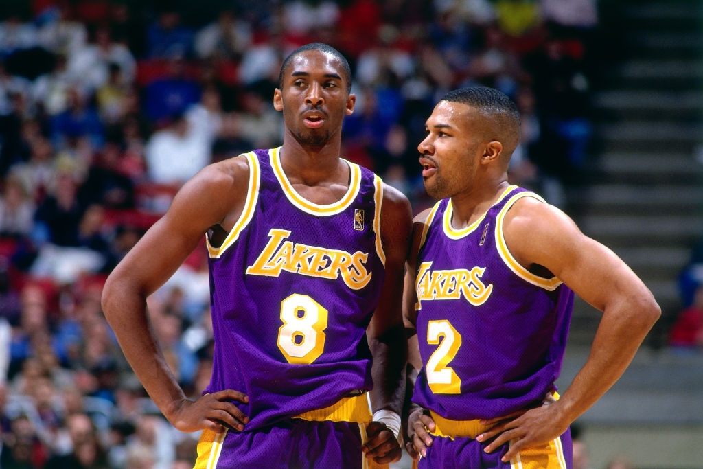 Kobe Bryant and Derek Fisher, Los Angeles Lakers vs New Jersey Nets