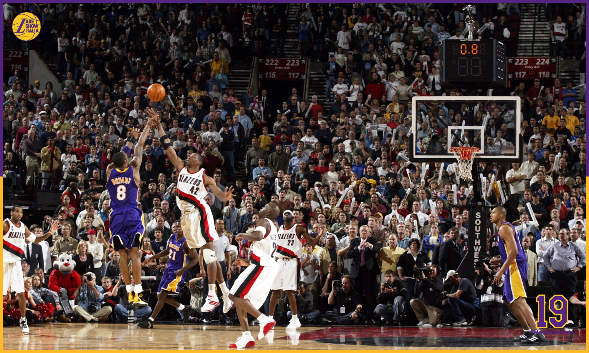 Kobe Bryant sinks a three point shot in the last seconds of a double overtime game against the Los Angeles Lakers Portland Trail Blazers on April 14, 2004 at the Rose Garden Arena in Portland, Oregon.