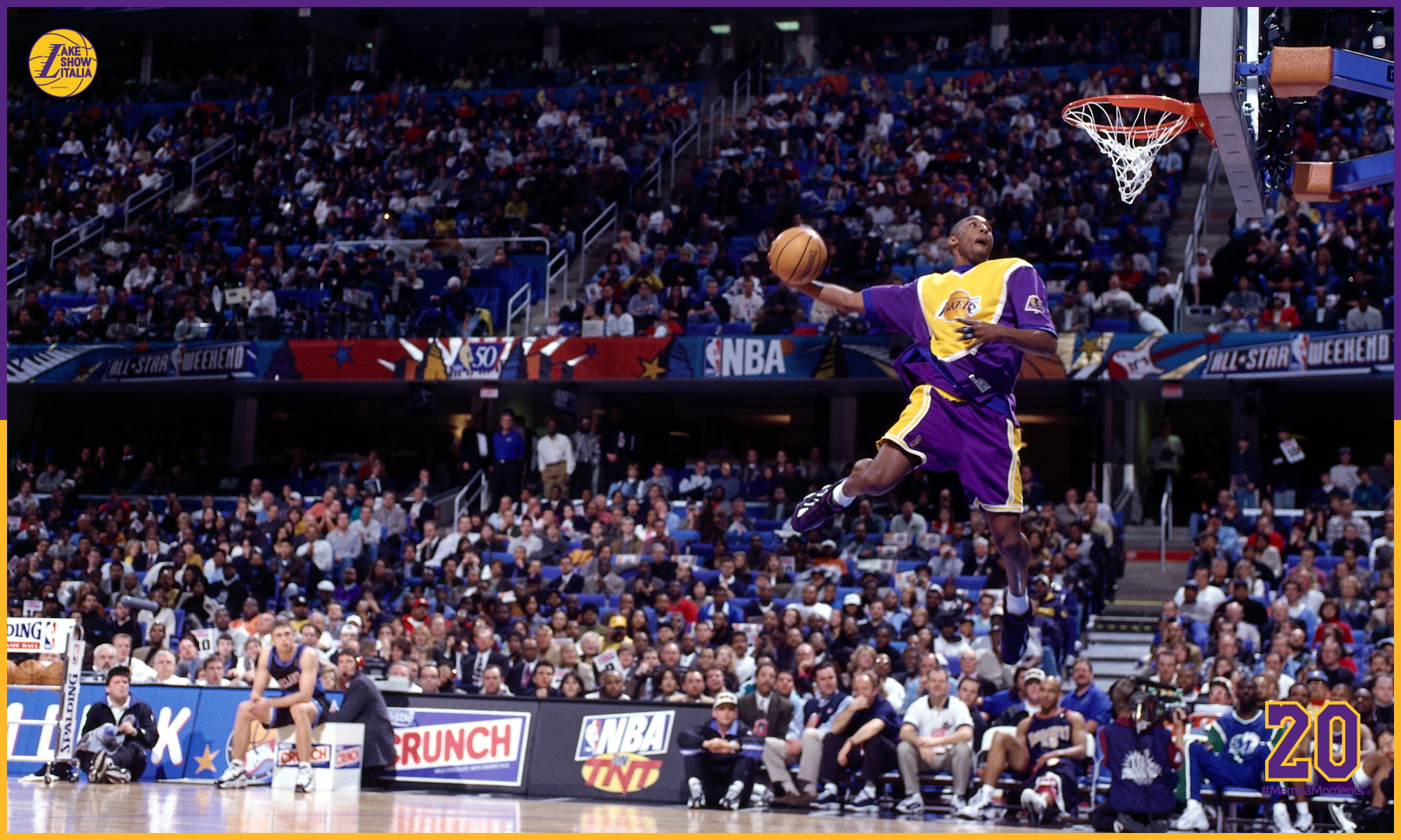 Kobe Bryant goes up for one of his slam dunks that won first place in the NBA All-Star Slam Dunk Contest at Gund Arena on February 8, 1997 in Cleveland, Ohio