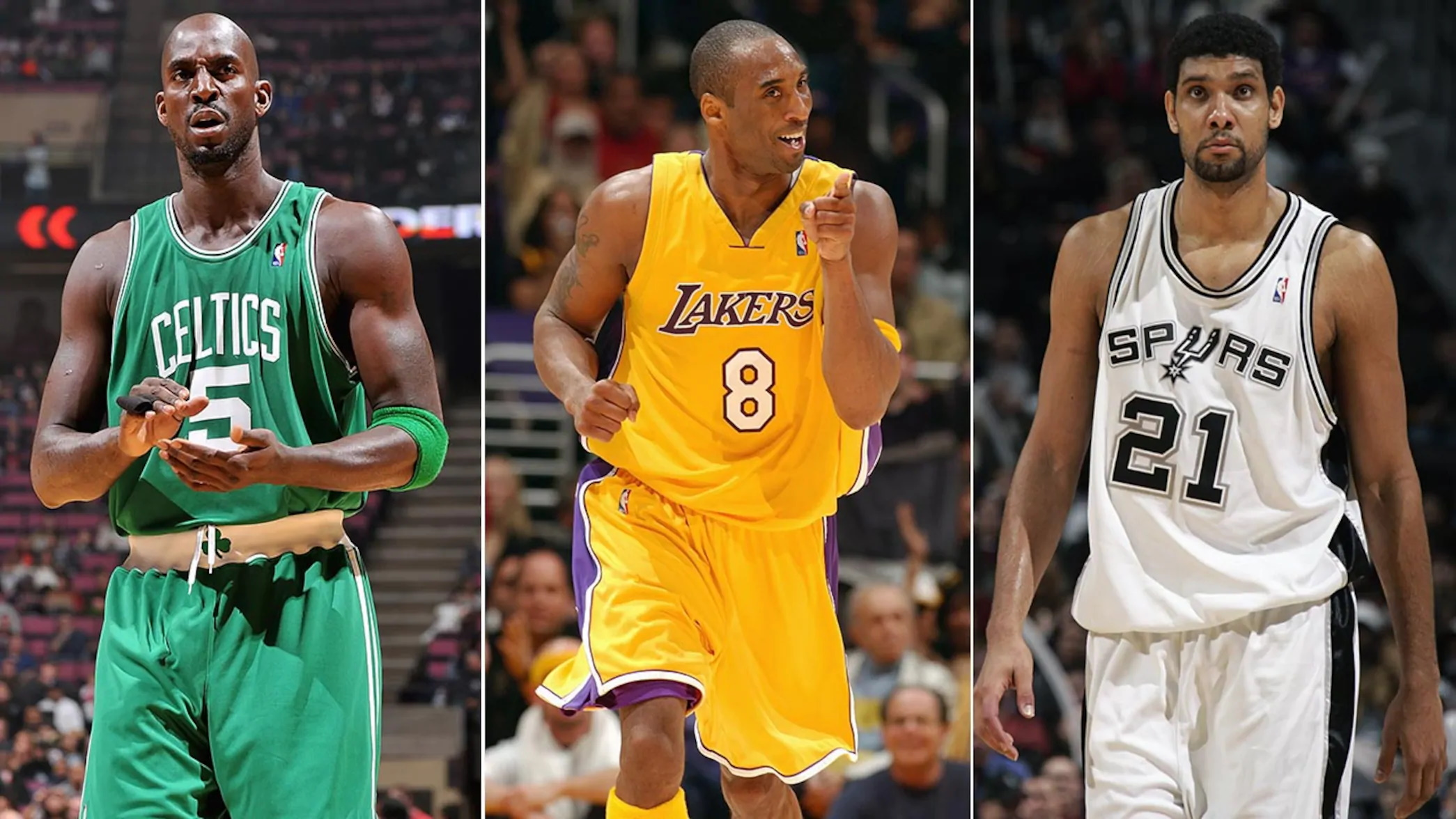 Kevin Garnett, Kobe Bryant and Tim Duncan