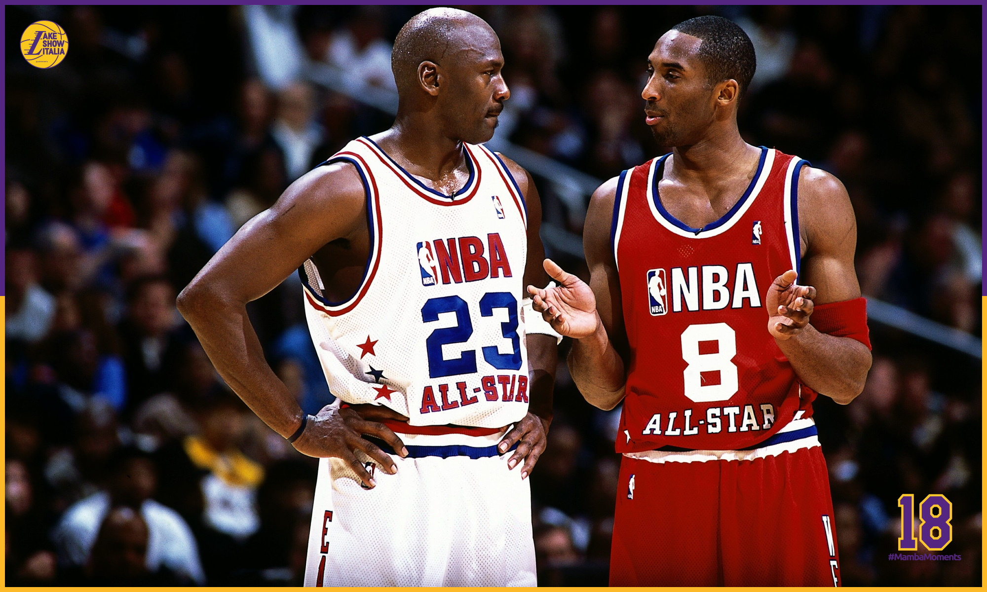 Kobe Bryant talks with Michael Jordan during the 2003 NBA All-Star Game at the Phillips Arena on February 9, 2003