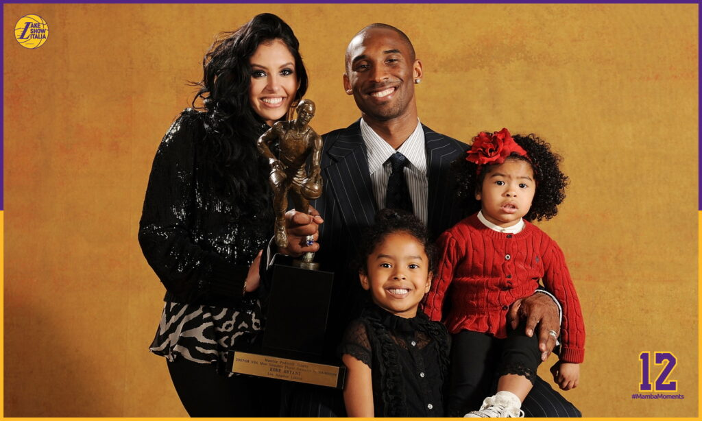 Kobe Bryant #24 of the Los Angeles Lakers poses for a portrait with his family (L-R) wife Vanessa, daughters Natalia and Gianna at the 2007-08 NBA Most Valuable Player Award press conference presented by Kia Motors at the Sheraton Gateway Hotel May 6, 2008 in Los Angeles, California.