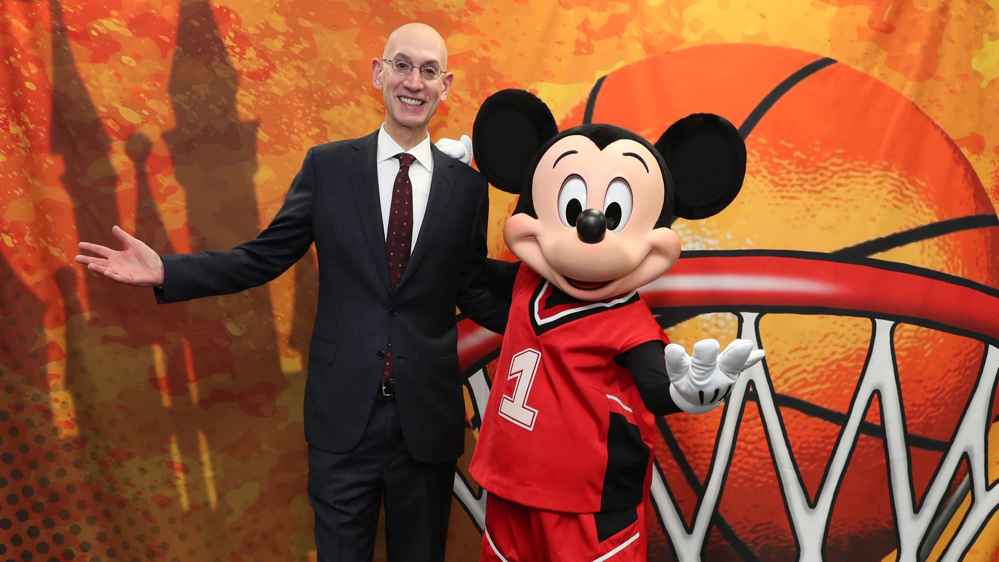 NBA Commissioner Adam Silver with Mickey Mouse