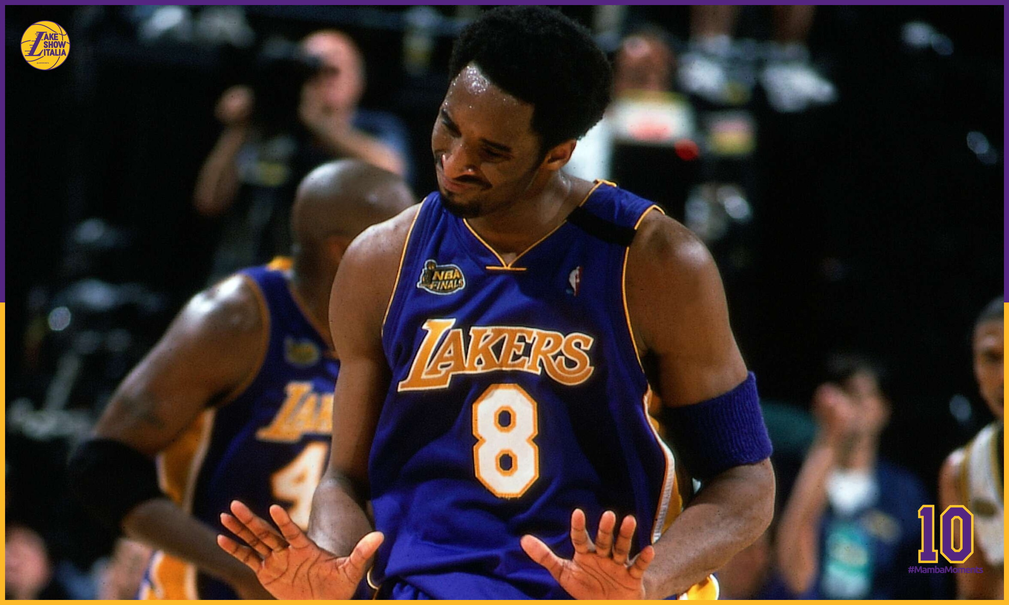 Kobe Bryant #8 of the Los Angeles Lakers displays emotion against the Indiana Pacers during Game Four of the 2000 NBA Finals on June 14, 2000 at Conseco Field House in Indianapolis, Indiana.