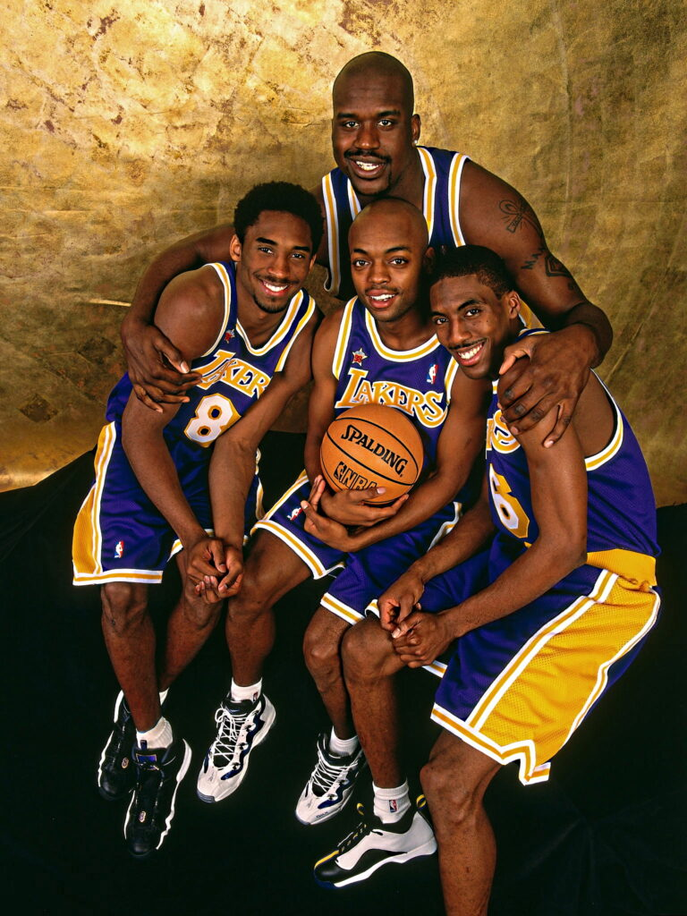 Shaquille O'Neal, Kobe Bryant, Nick Van Exel and Kobe Bryant of the Los Angeles Lakers poses for a portrait during NBA All-Star Weekend on February 6, 1998 in New York City.