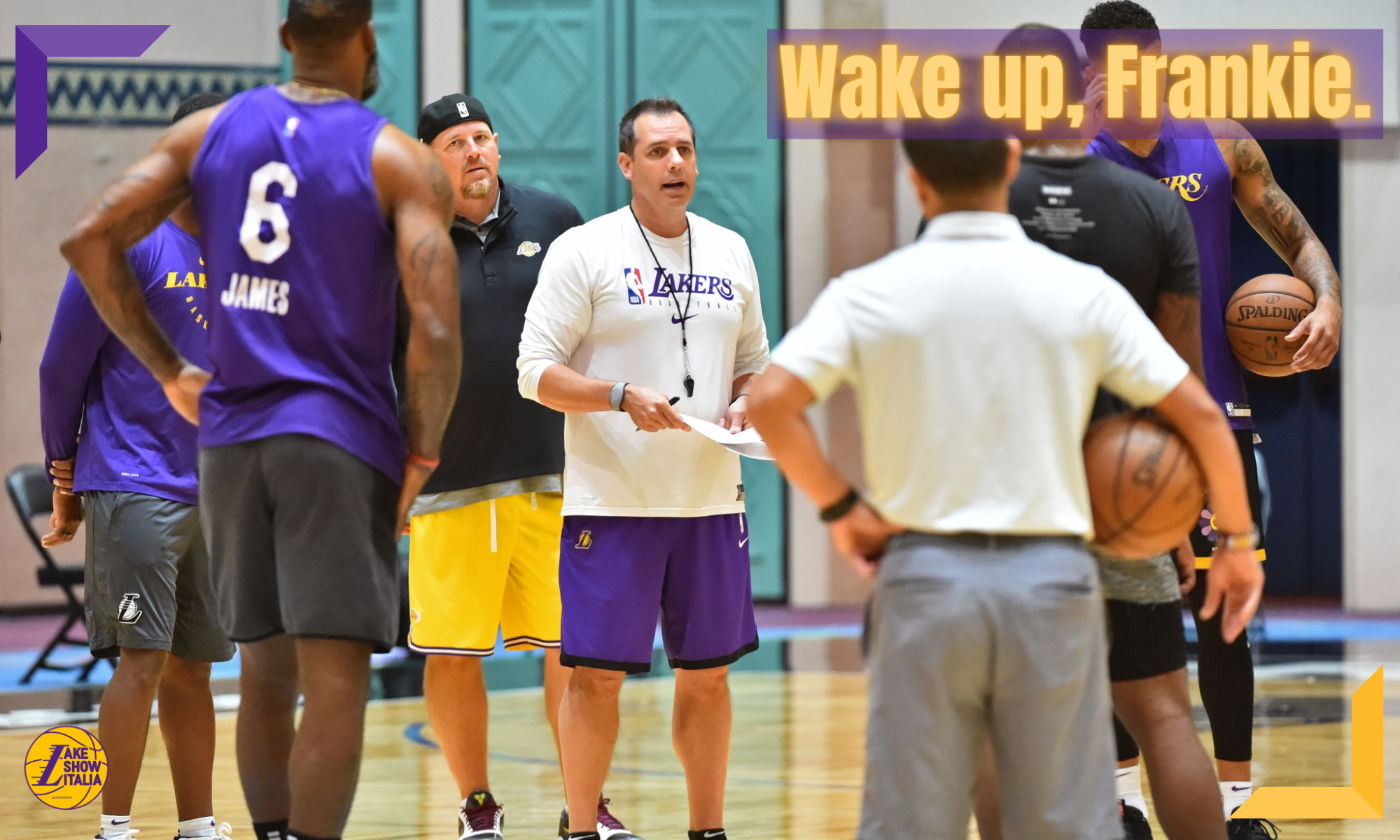 Frank Vogel of the Los Angeles Lakers coaches during practice as part of the NBA Restart 2020 on July 28, 2020 in Orlando, Florida. NOTE TO USER: User expressly acknowledges and agrees that, by downloading and/or using this photograph, user is consenting to the terms and conditions of the Getty Images License Agreement. Mandatory Copyright Notice: Copyright 2020 NBAE