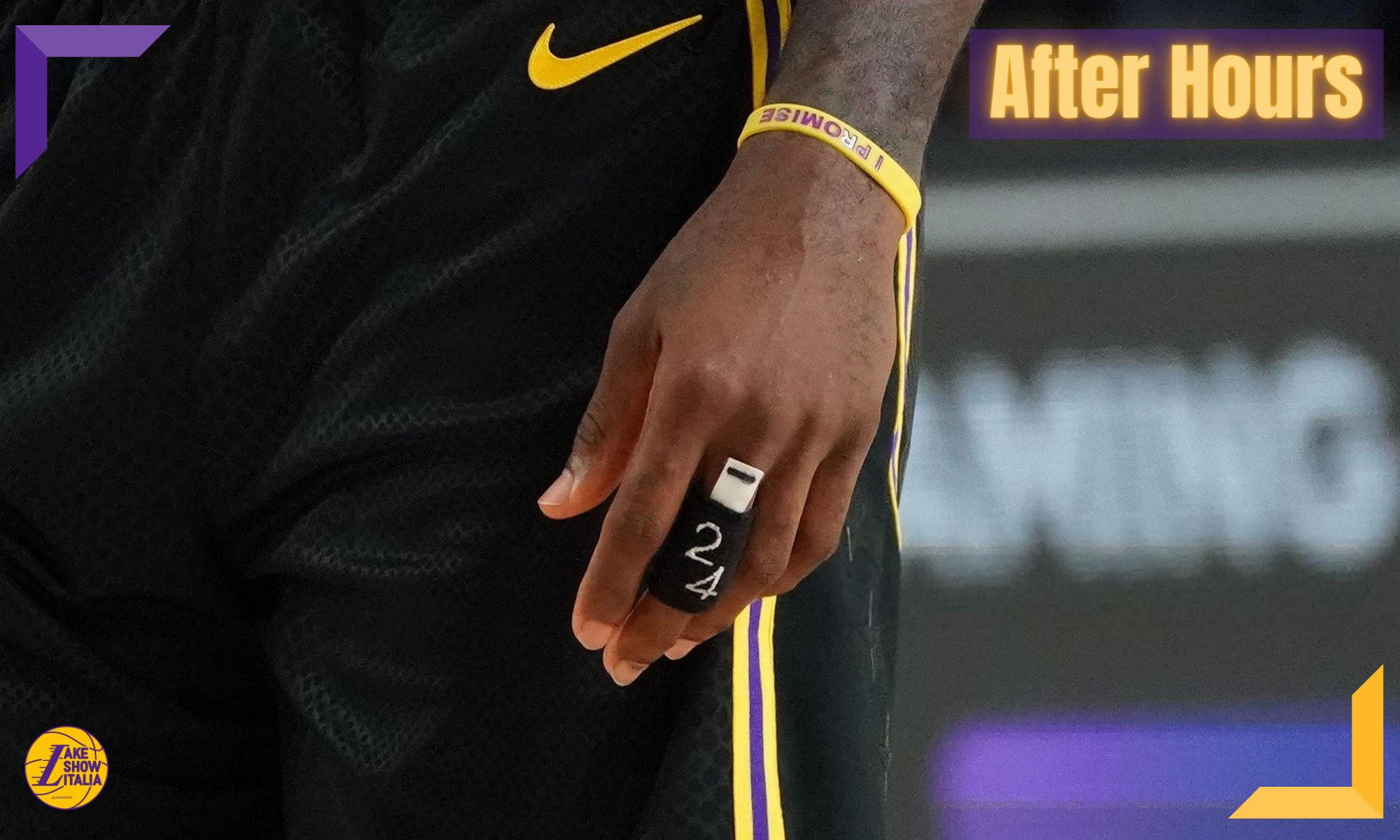 ORLANDO, FL - AUGUST 24: Finger band worn by LeBron James #23 of the Los Angeles Lakers during Round One, Game Four of the NBA Playoffs on August 22, 2020 at AdventHealth Arena in Orlando, Florida. NOTE TO USER: User expressly acknowledges and agrees that, by downloading and/or using this Photograph, user is consenting to the terms and conditions of the Getty Images License Agreement. Mandatory Copyright Notice: Copyright 2020 NBAE