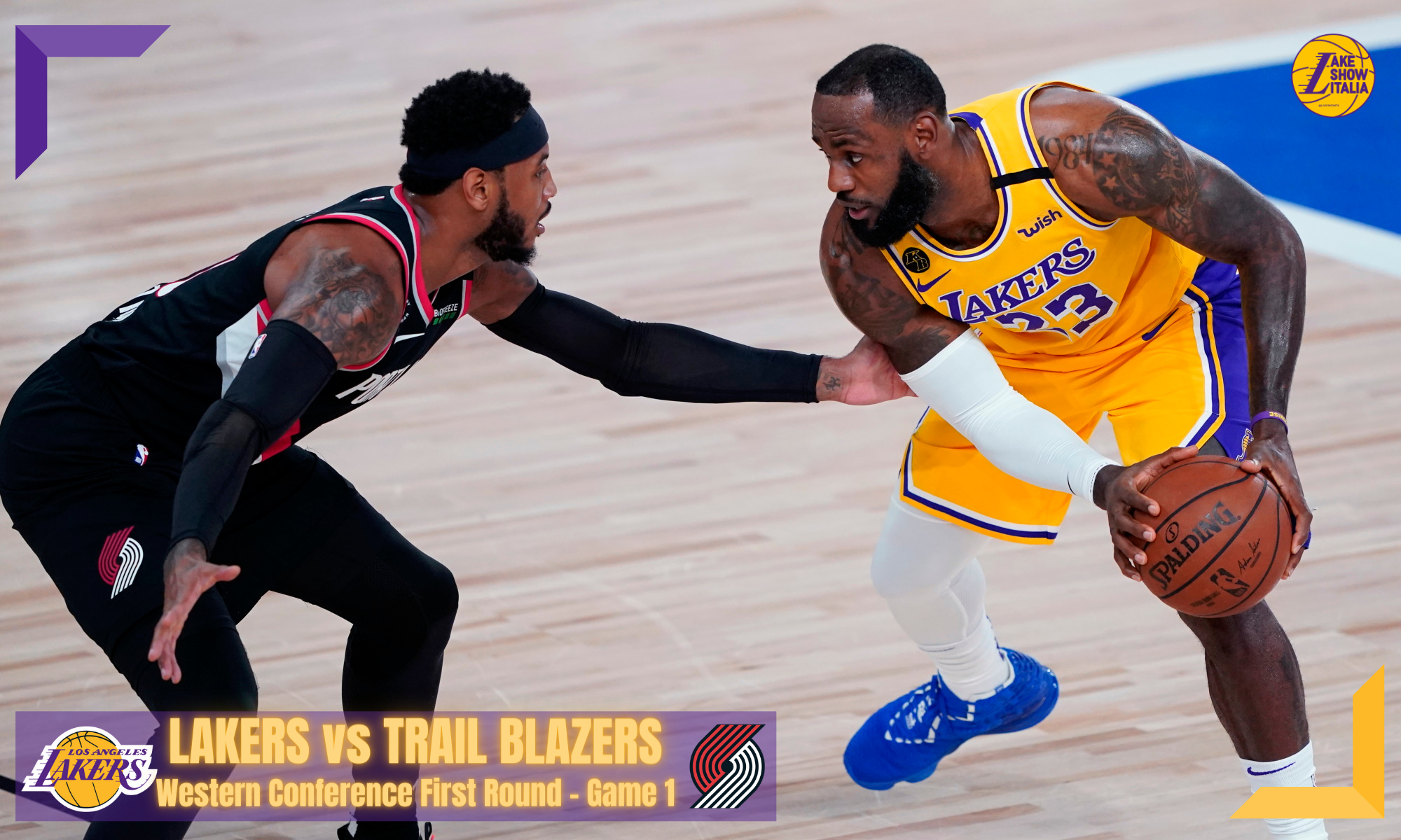 Los Angeles Lakers forward LeBron James (23) works the ball against Portland Trail Blazers forward Carmelo Anthony (00) during the first half of an NBA basketball game Tuesday, Aug. 18, 2020, in Lake Buena Vista, Fla.