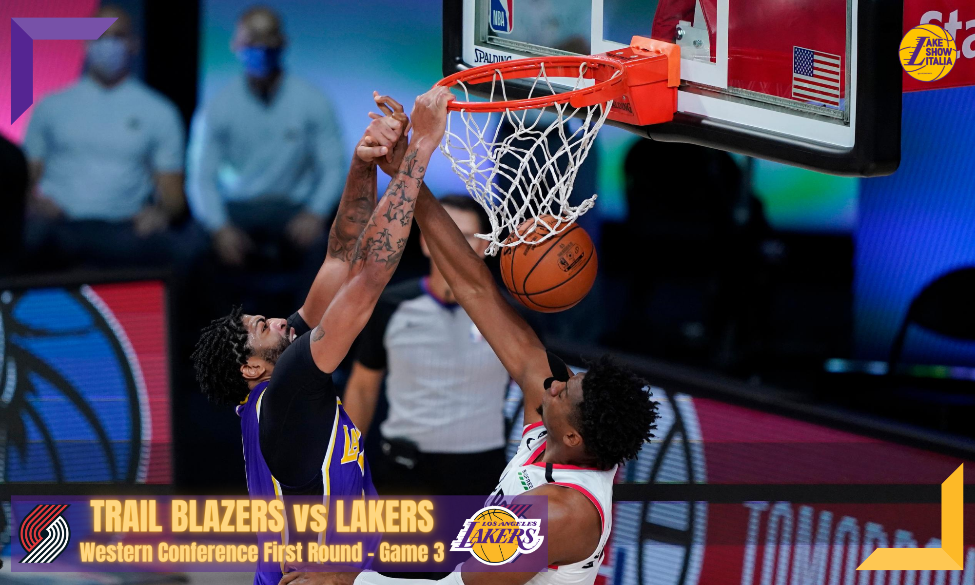 Los Angeles Lakers forward Anthony Davis (3) scores over Portland Trail Blazers center Hassan Whiteside (21) during the first half of an NBA basketball first round playoff game, Saturday, Aug. 22, 2020, in Lake Buena Vista, Fla.