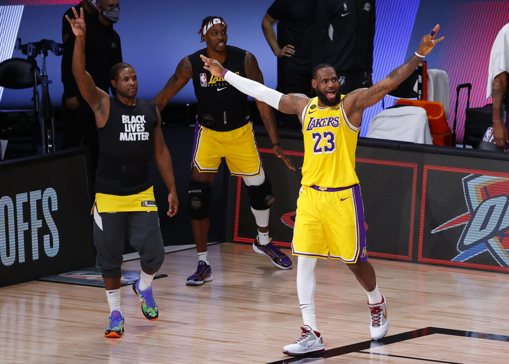 Los Angeles Lakers' LeBron James (23) reacts during the third quarter of Game 2 of an NBA basketball first-round playoff series against the Portland Trail Blazers, Thursday, Aug. 20, 2020, in Lake Buena Vista, Fla.