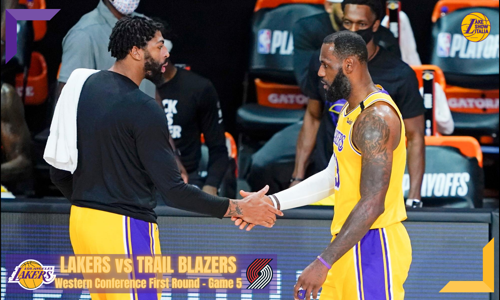 Los Angeles Lakers' Anthony Davis, left, shakes hands with LeBron James as James goes to the bench during the first half of an NBA basketball first round playoff game against the Portland Trail Blazers Saturday, Aug. 29, 2020, in Lake Buena Vista, Fla.