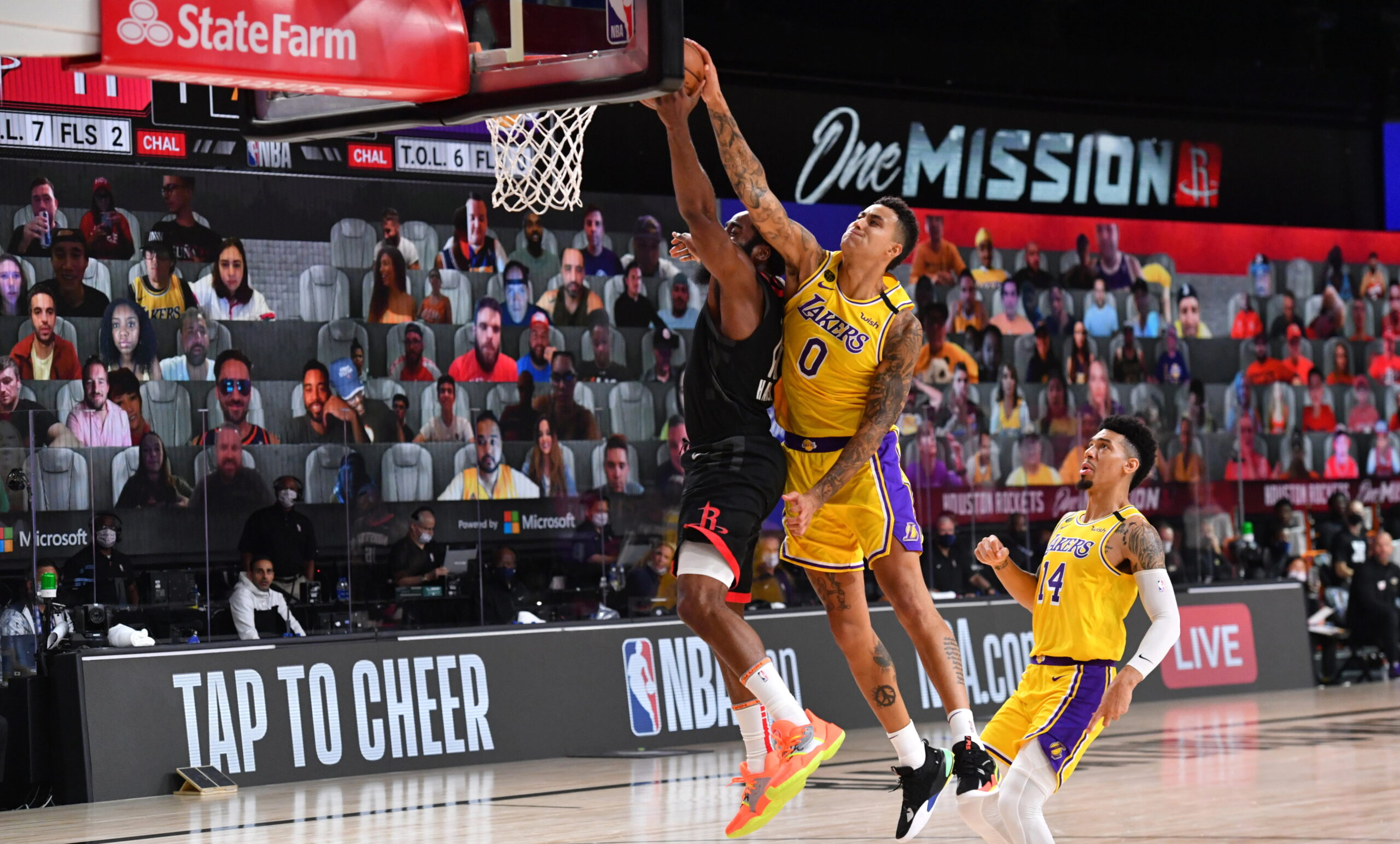 Kyle Kuzma #0 of the Los Angeles Lakers blocks shot taken by James Harden #13 of the Houston Rockets on August 6, 2020