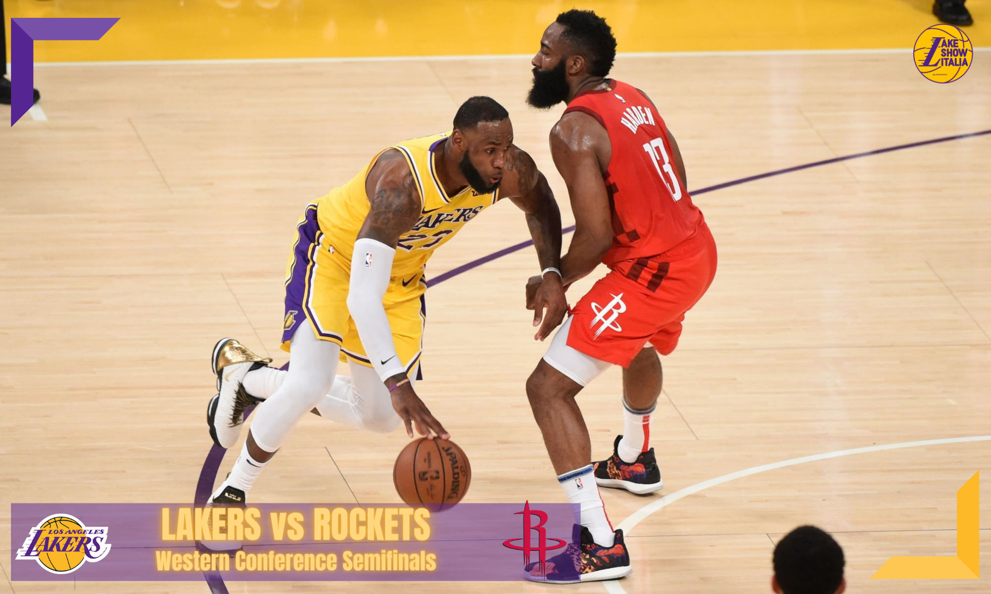 LeBron James #23 of the Los Angeles Lakers handles the ball against James Harden #13 of the Houston Rockets