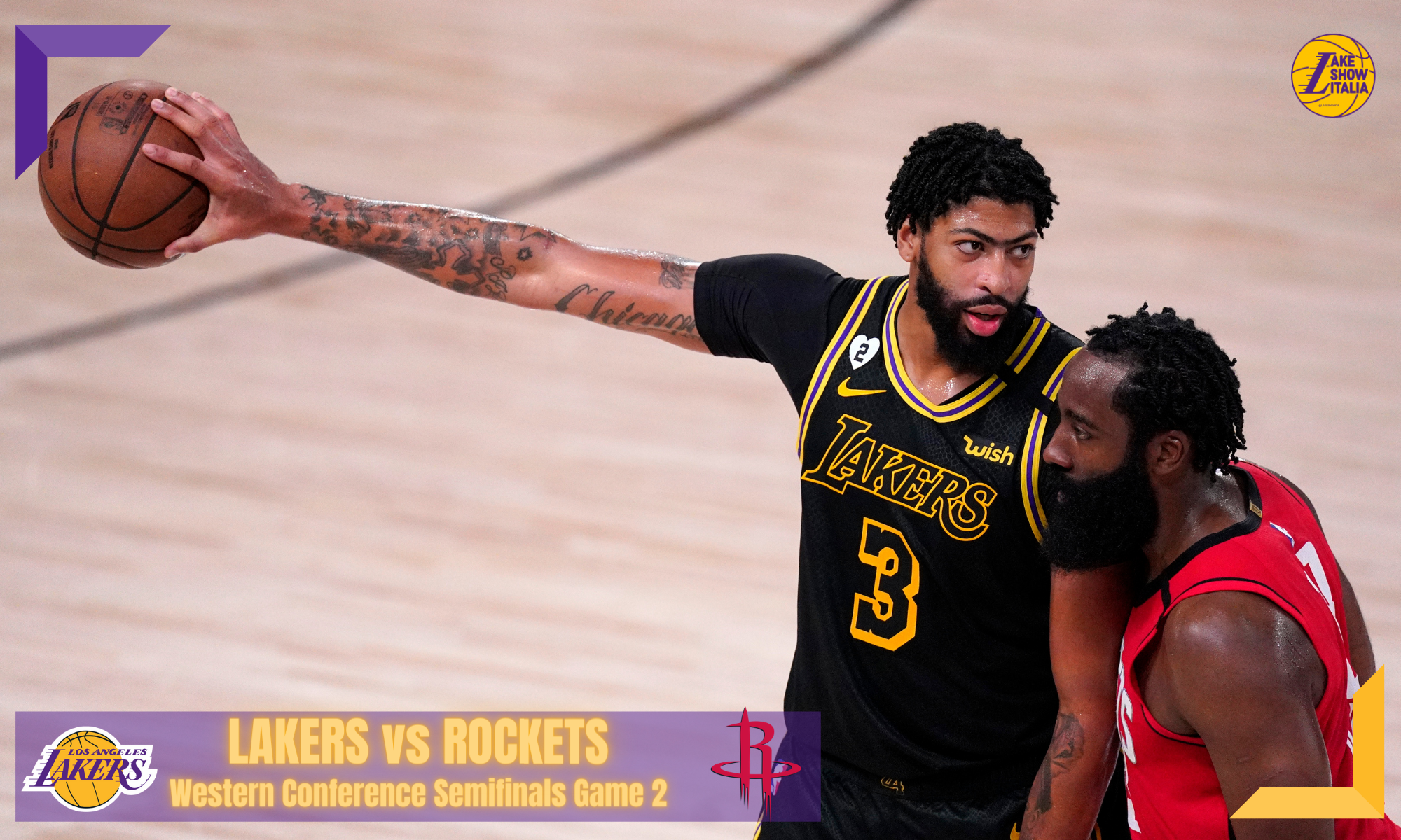 Los Angeles Lakers' Anthony Davis (3) extends his arm with the ball as James Harden defends him during the second half of an NBA conference semifinal playoff basketball game Sunday, Sept. 6, 2020, in Lake Buena Vista, Fla. The Lakers won 117-109.