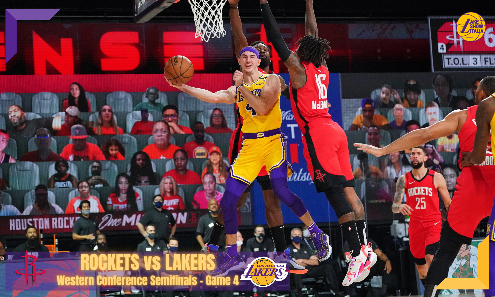 Alex Caruso #4 of the Los Angeles Lakers shoots the ball against the Houston Rockets during Game Four of the Western Conference Semifinals on September 10, 2020
