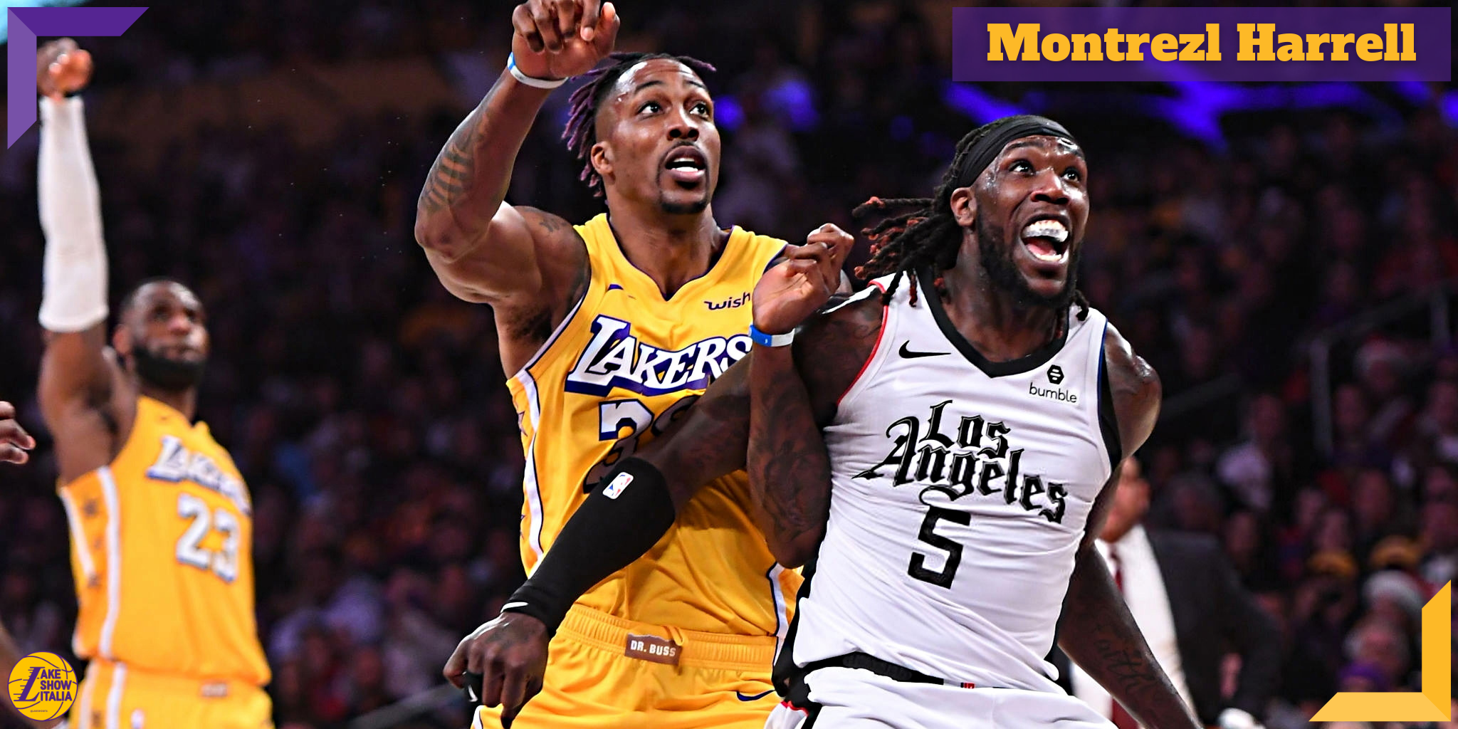 Dwight Howard #39 of the Los Angeles Lakers and Montrezl Harrell #5 of the Los Angeles Clippers battle for a rebound off a shot by LeBron James #23 of the Los Angeles Lakers in the second half of the game at Staples Center on December 25, 2019 in Los Angeles, California.