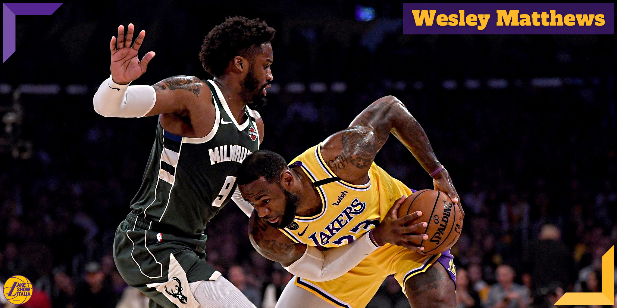 LeBron James #23 of the Los Angeles Lakers is guarded by Wesley Matthews #9 of the Milwaukee Bucks during the first half at Staples Center on March 06, 2020 in Los Angeles, California. (Harry How, Getty Images)