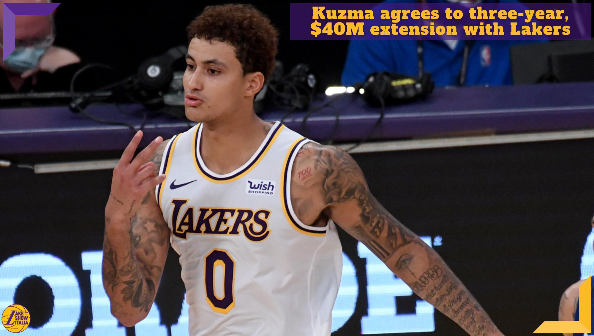 Kyle Kuzma ha accettato l'estensione triennale da 40 milioni di dollari offerta dei Los Angeles Lakers