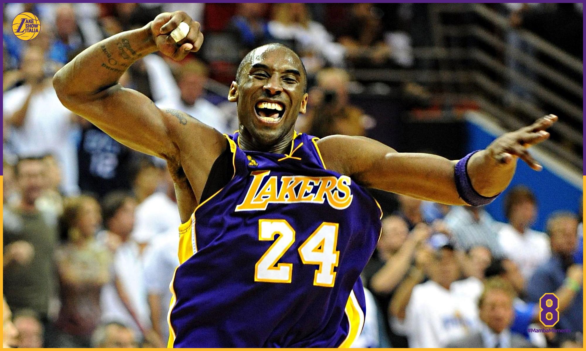 L'esultanza di Kobe Bryant dopo la conquista del quarto titolo con i Lakers nel 2009.