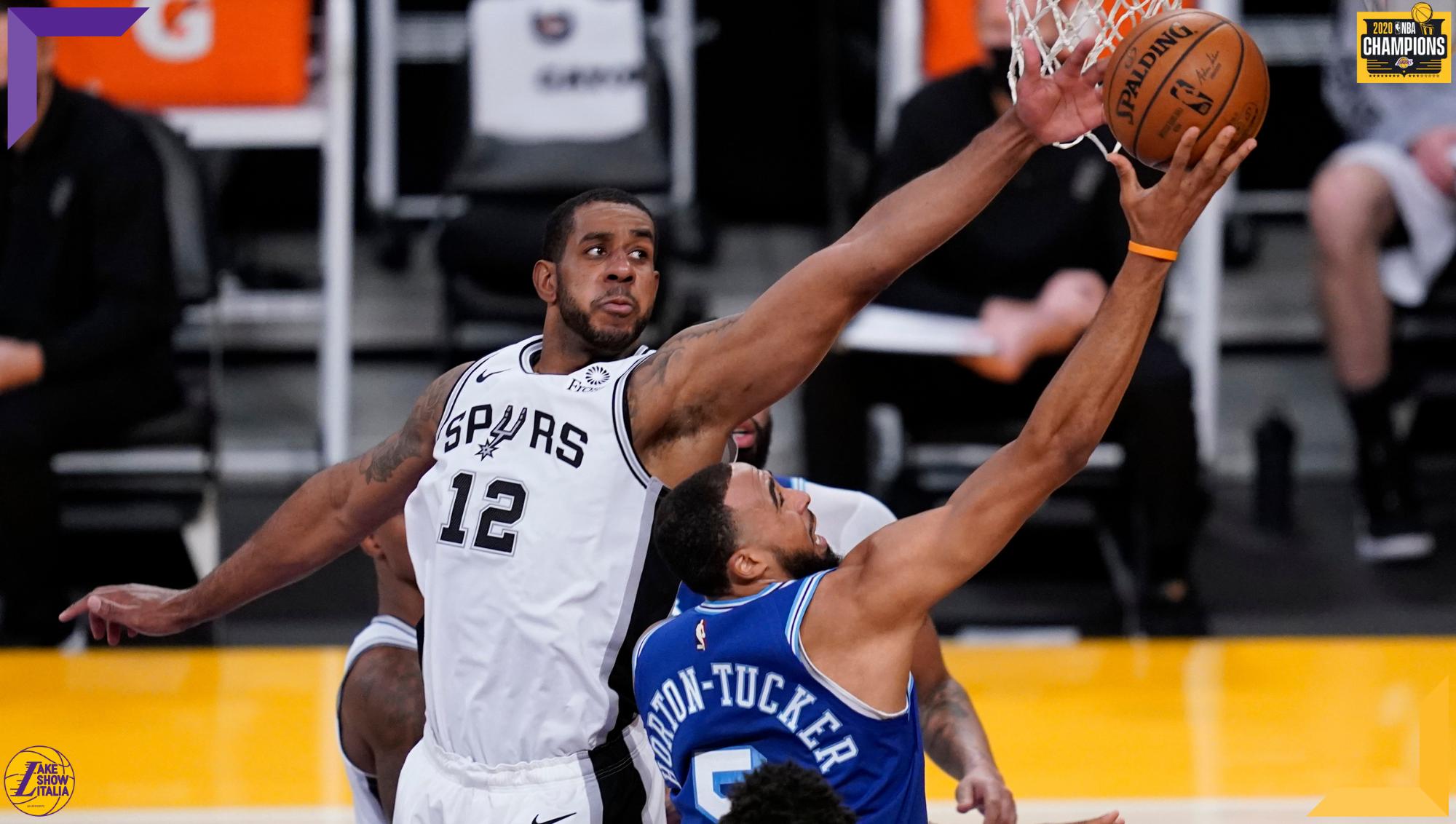 LaMarcus Aldridge and Talen Horton-Tucker, Los Angeles Lakers vs San Antonio Spurs
