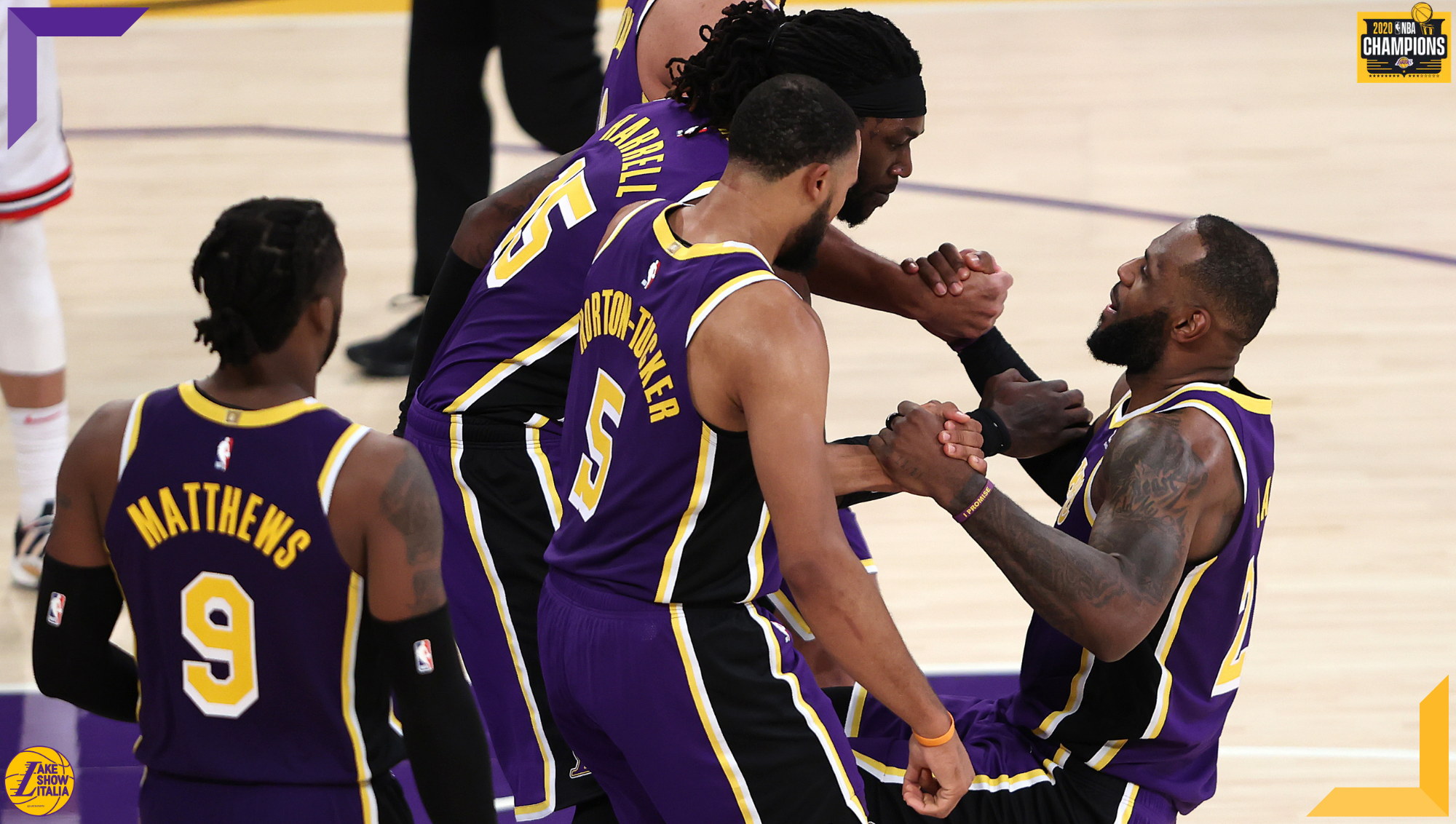 Talen Horton-Tucker, Montrezl Harrell, Wesley Matthews and LeBron James, Los Angeles Lakers vs Chicago Bulls