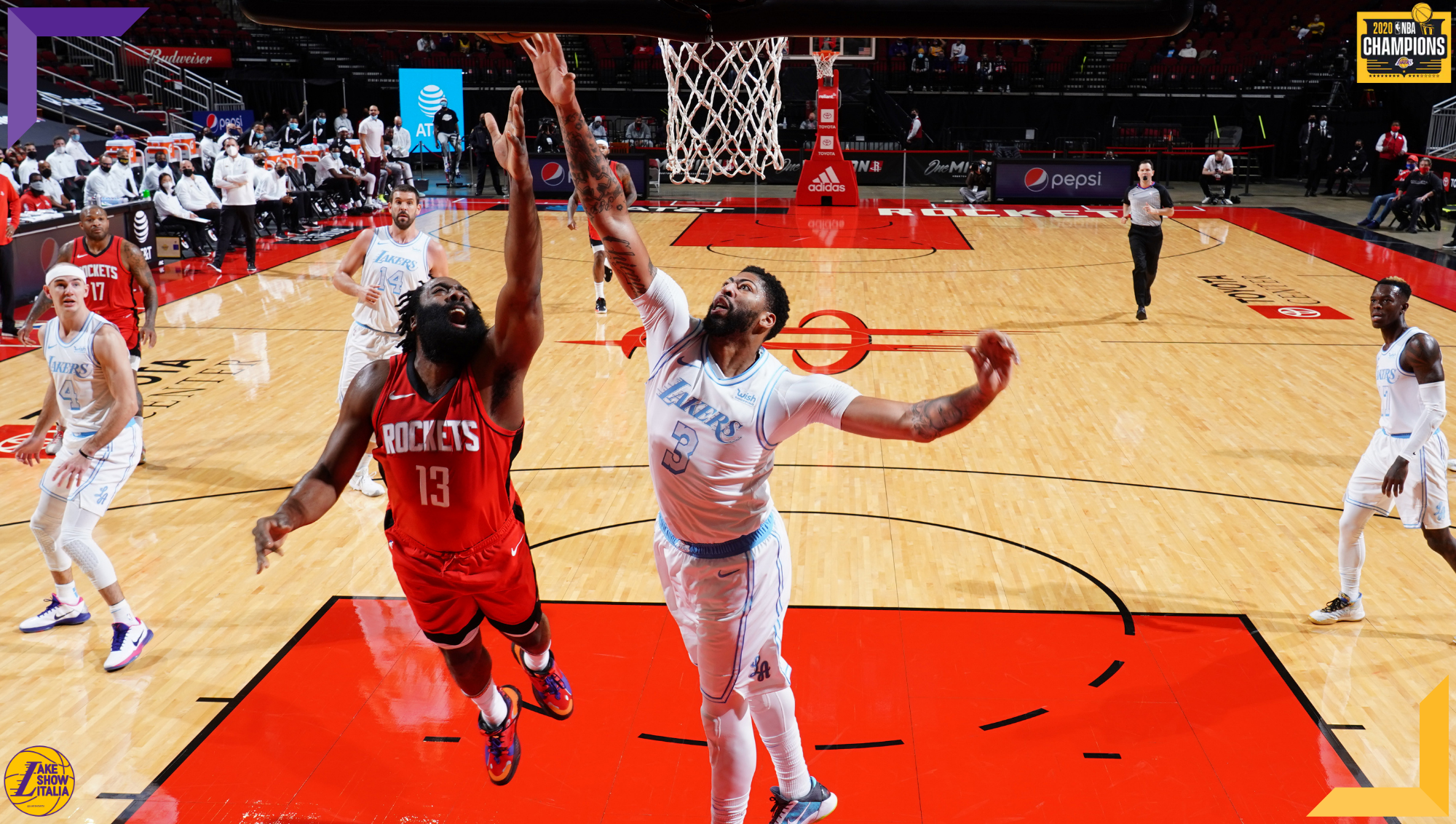 Anthony Davis and James Harden, Los Angeles Lakers vs Houston Rockets