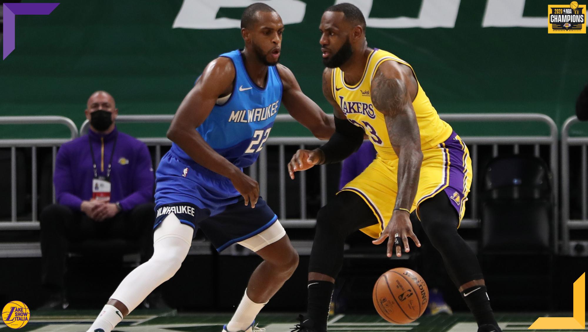 LeBron James and Khris Middleton, Los Angeles Lakers vs Milwaukee Bucks