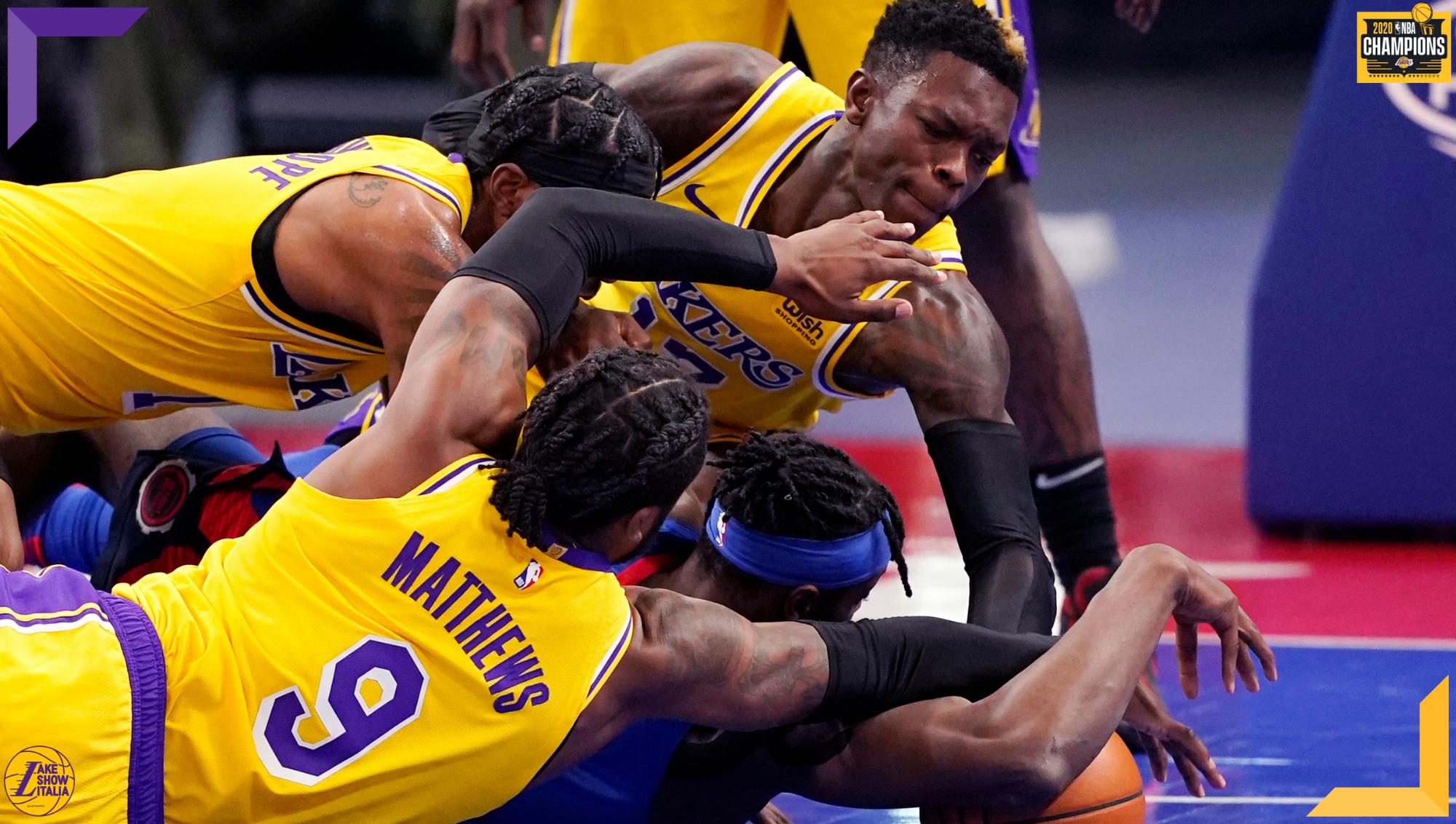 Kentavious Caldwell-Pope, Dennis Schroder, Wesley Matthews and Jerami Grant, Los Angeles Lakers vs Detroit Pistons