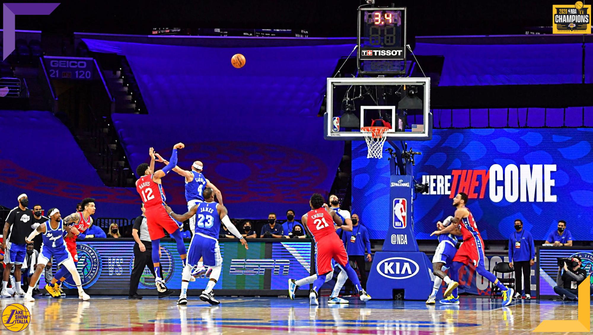 Tobias Harris and Alex Caruso, Los Angeles Lakers vs Philadelphia