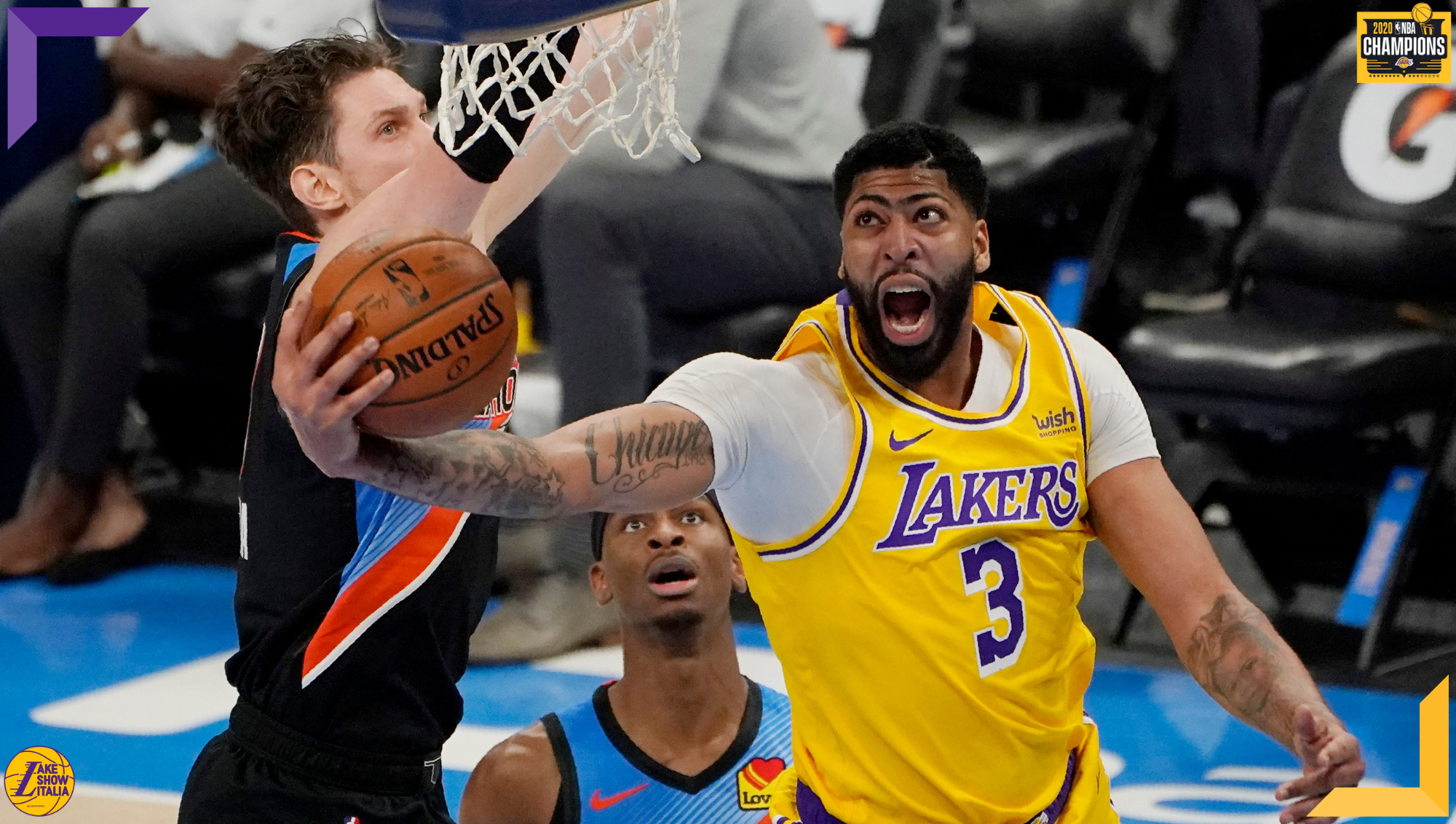 Anthony Davis and Mike Muscala, Los Angeles Lakers vs Oklahoma City Thunder