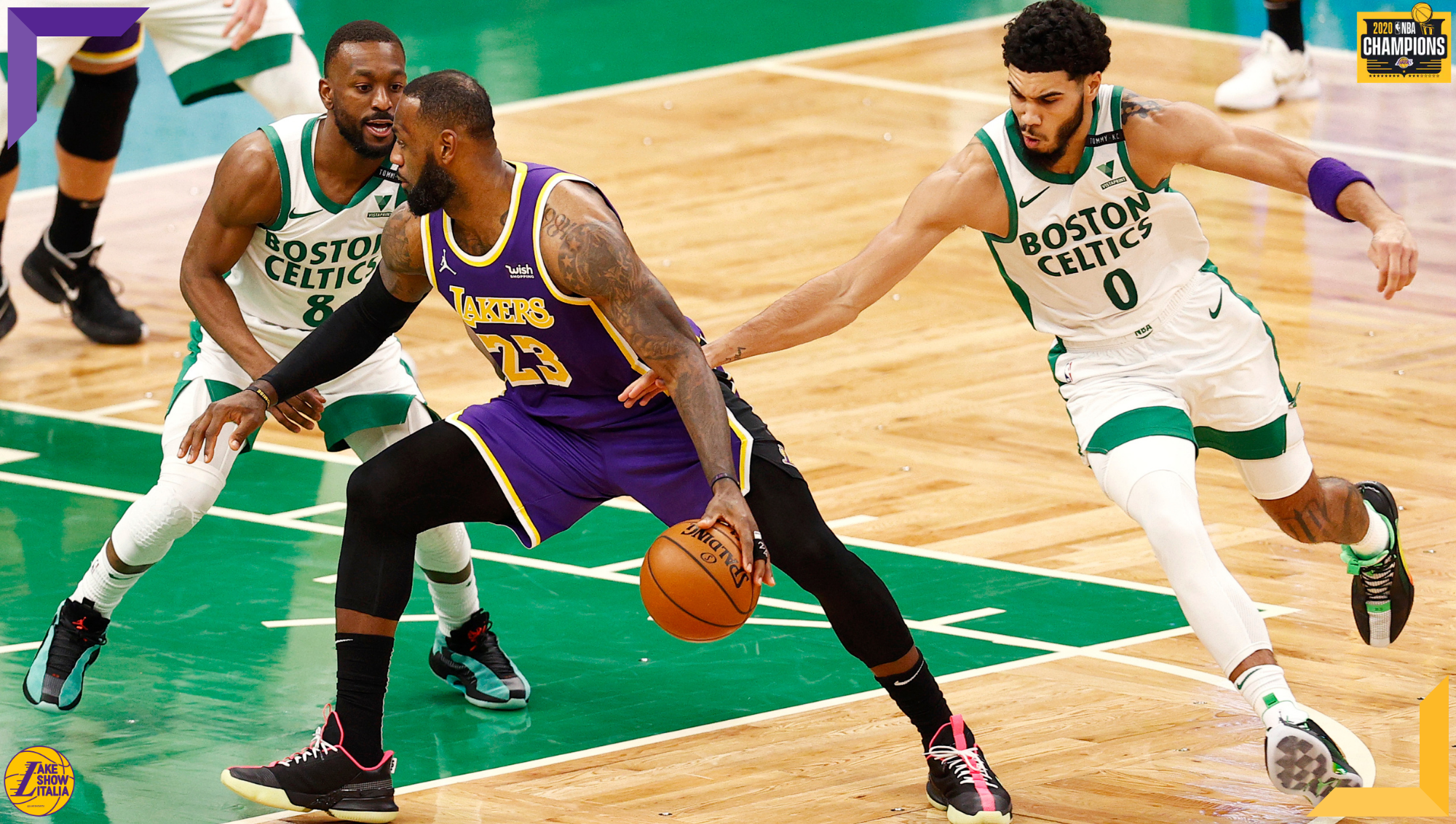 Kemba Walker, LeBron James and Jayson Tatum, Los Angeles Lakers vs Boston Celtics