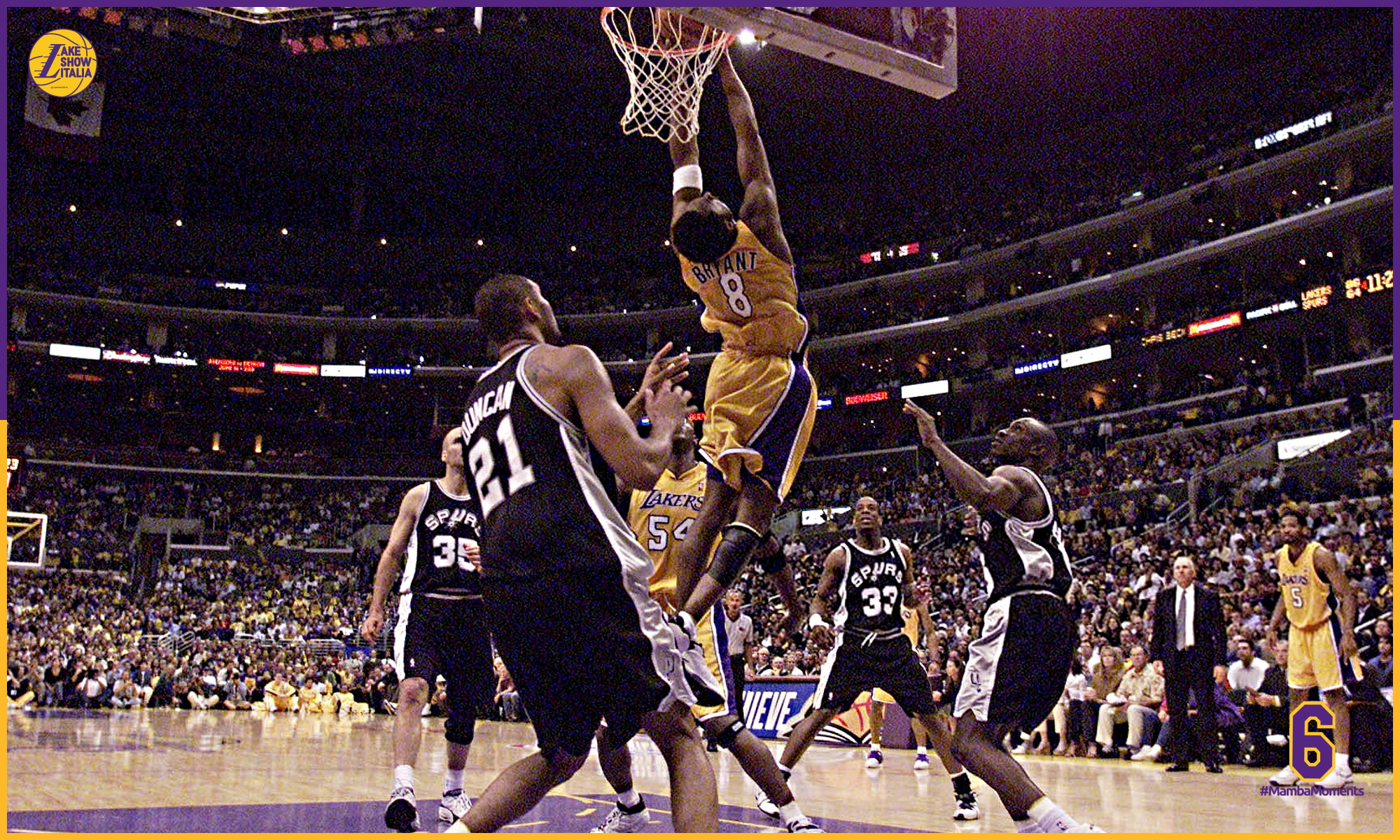 Kobe Bryant, Los Angeles Lakers vs San Antonio Spurs in Game Three of the Western Conference Finals at Staples Center in Los Angeles, California on May 25, 2001
