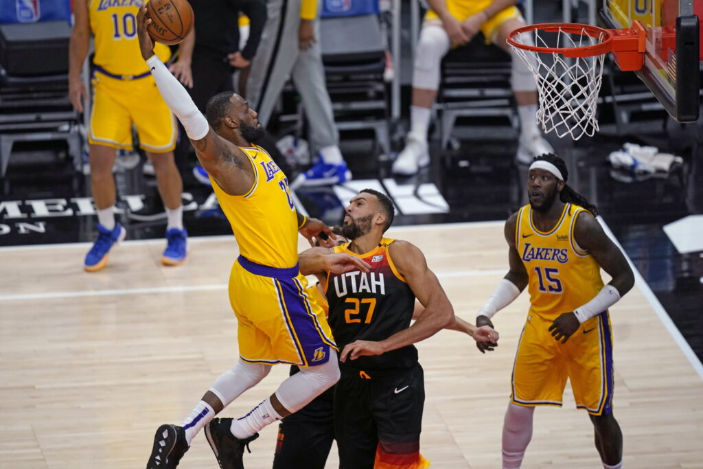 LeBron James and Rudy Gobert, Los Angeles Lakers vs Utah Jazz