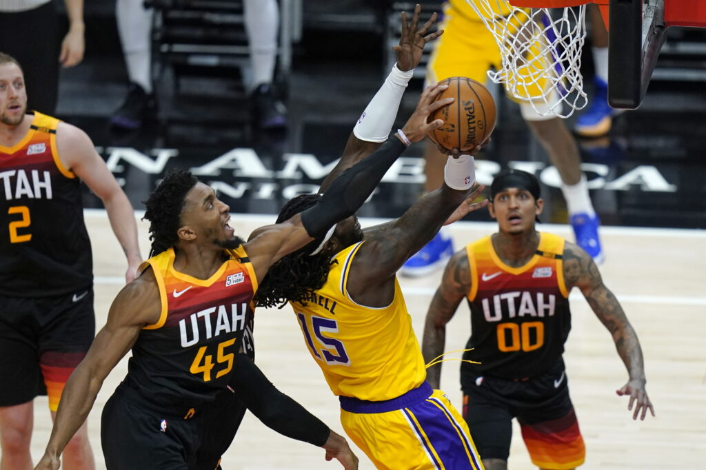 Donovan Mitchell and Montrezl Harrell, Los Angeles Lakers vs Utah Jazz