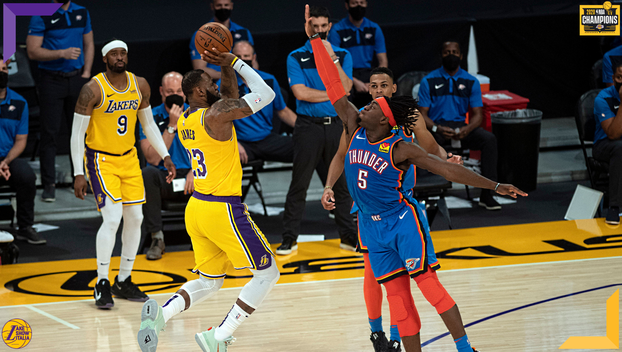 LeBron James and Laguentz Dort, Los Angeles Lakers vs Oklahoma City Thunder