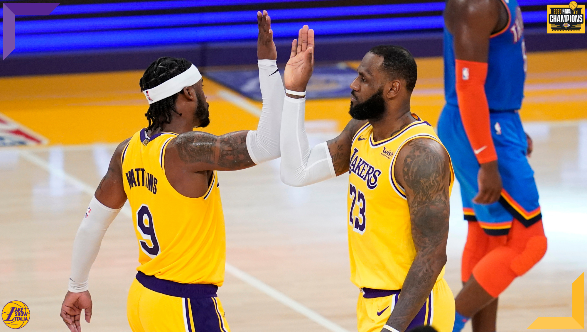 Wesley Matthews and LeBron James, Los Angeles Lakers vs Oklahoma City Thunder
