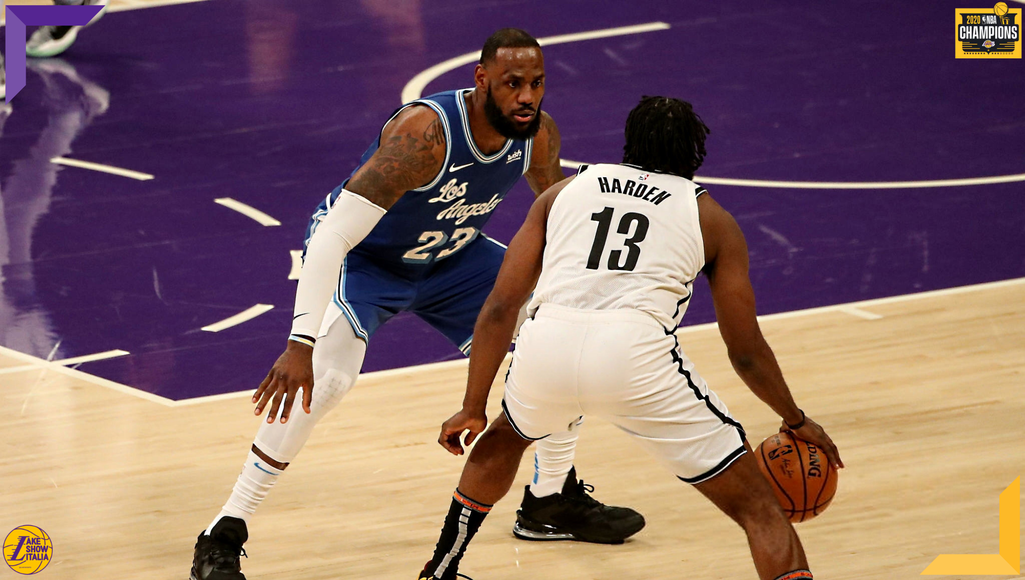 LeBron James and James Harden, Los Angeles Lakers vs Brooklyn Nets