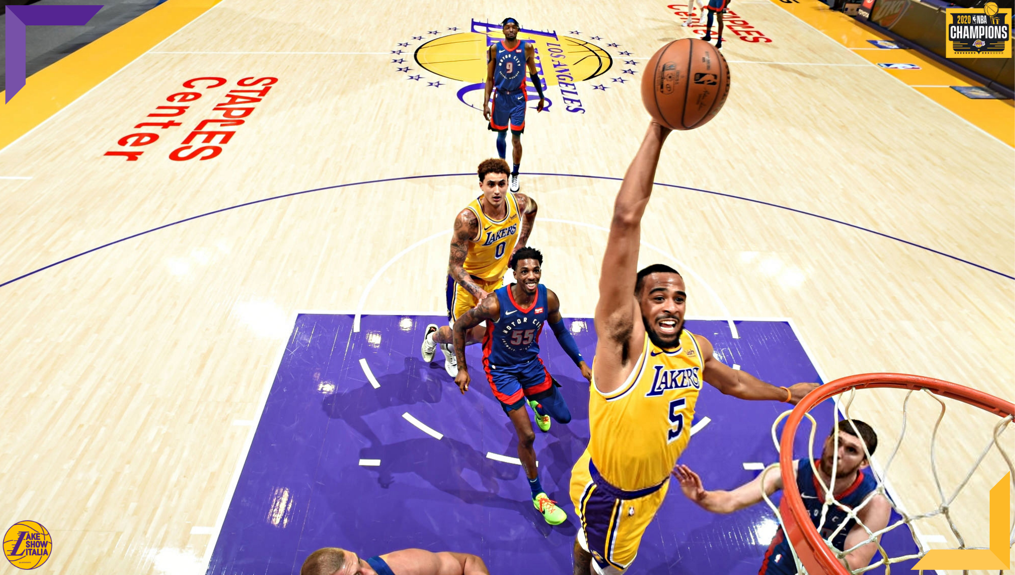 Talen Horton-Tucker, Los Angeles Lakers shoots vs Detroit Pistons