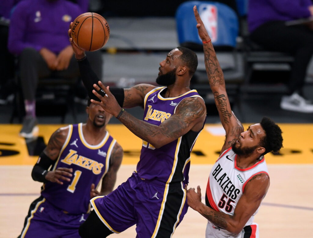 LeBron James and Derrick Jones Jr., Los Angeles Lakers vs the Portland Trail Blazers