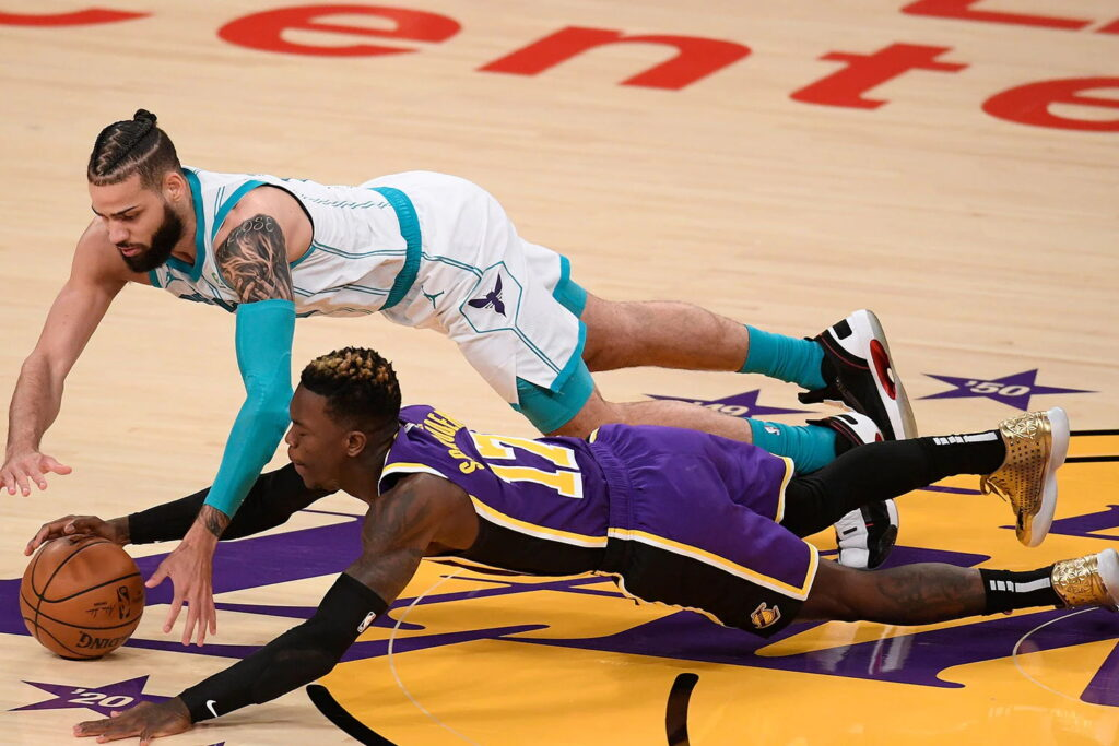 Dennis Schroder and Cody Martin, Los Angeles Lakers vs Charlotte Hornets