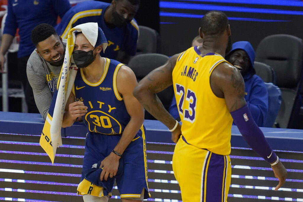 Stephen Curry and LeBron James, Los Angeles Lakers vs Golden State Warriors