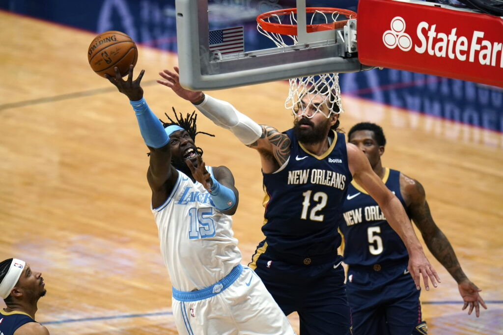 Montrezl Harrell and Steven Adams, Los Angeles Lakers vs New Orleans Pelicans