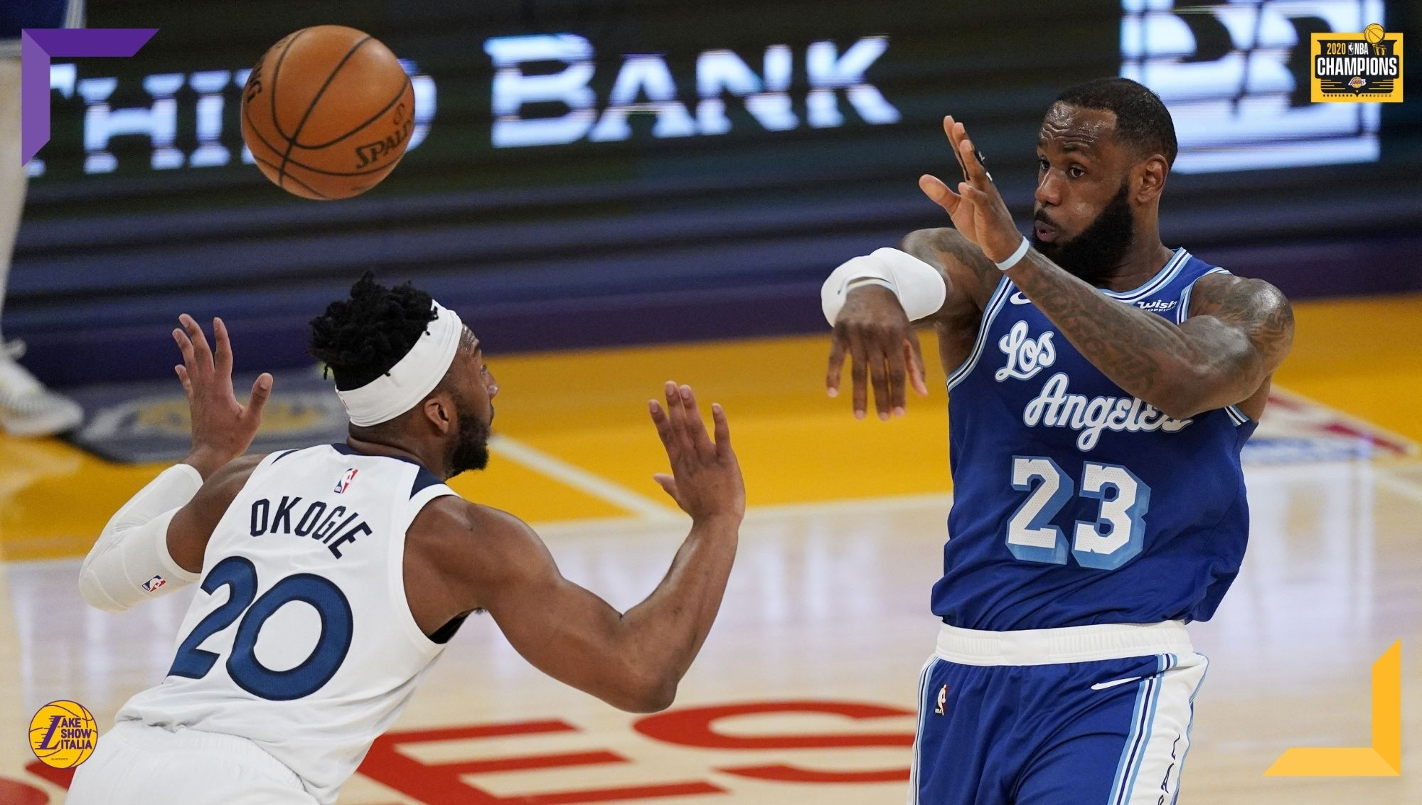 LeBron James and Josh Okogie, Los Angeles Lakers vs Minnesota Timberwolves