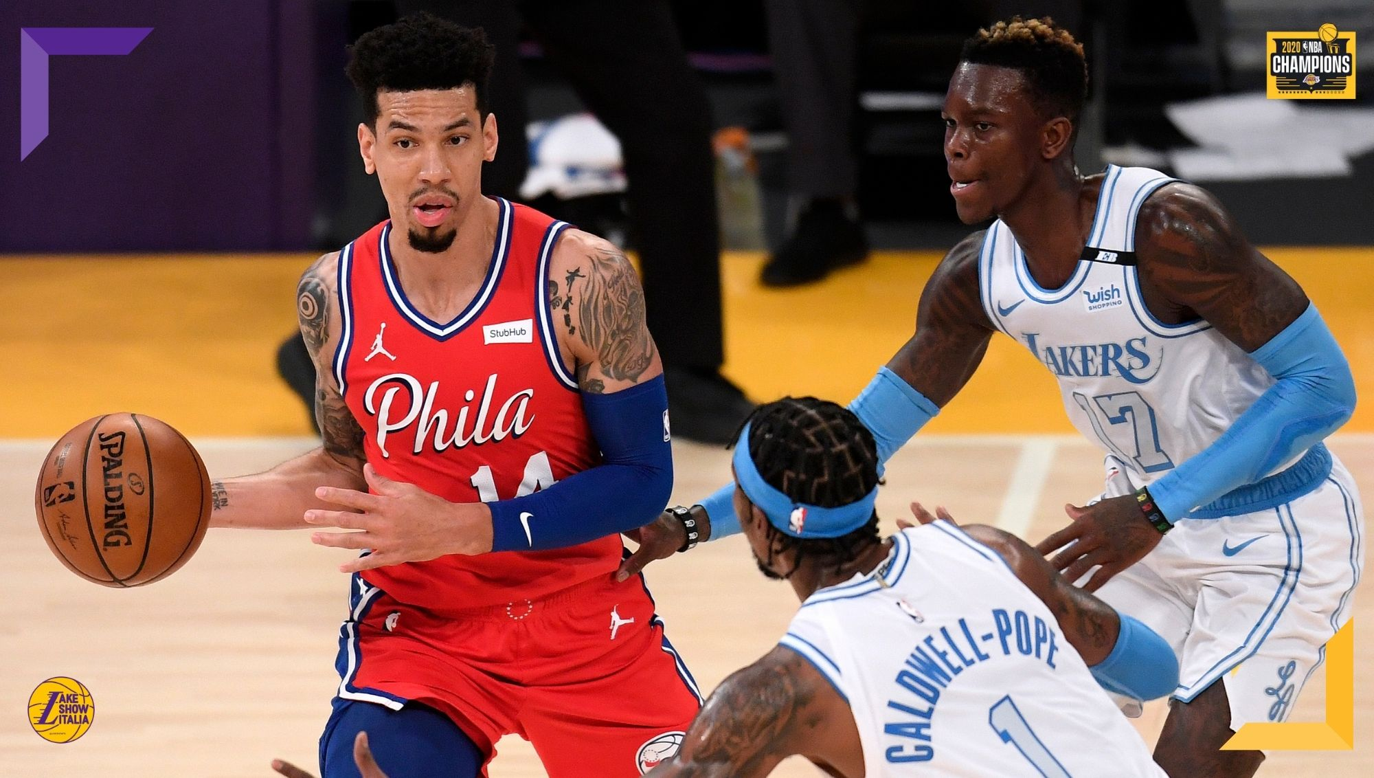 Danny Green, Dennis Schroder and Kentavious Caldwell-Pope, Los Angeles Lakers vs Philadelphia 76ers